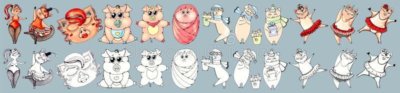 猪是不同的,在舞蹈家和孩子服装  设置在颜色和黑白版本 向量例证