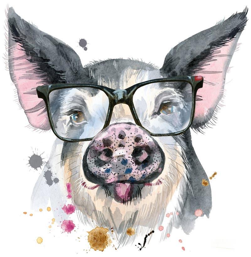 猪水彩画象与玻璃的装饰的 向量例证