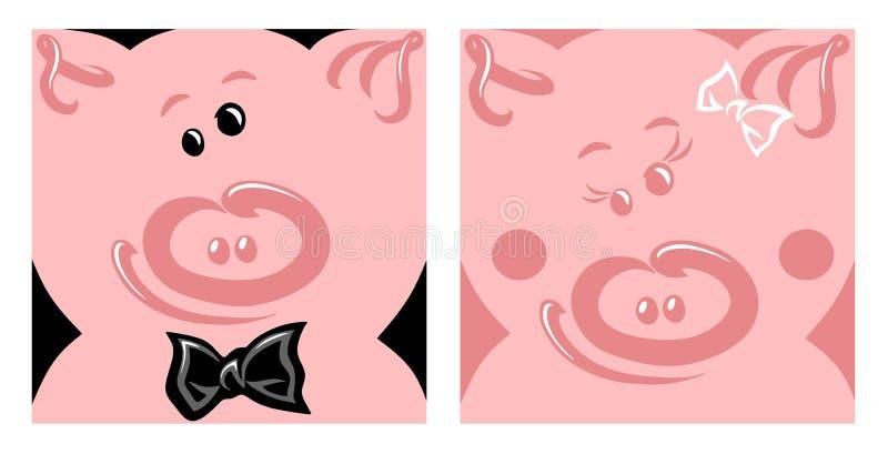 猪的快乐的愉快的面孔的传染媒介例证 库存例证