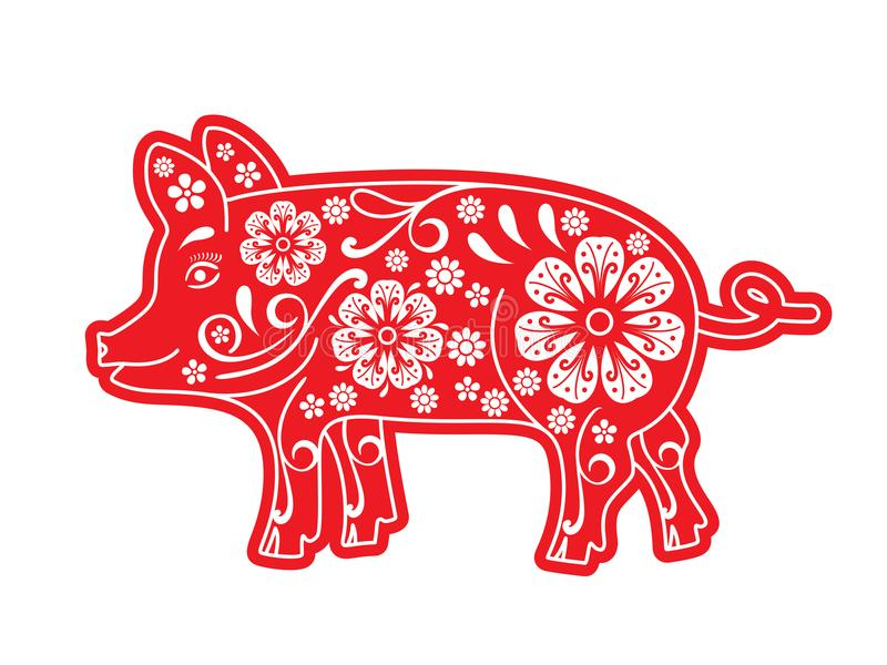 猪红色,被切开的纸, origami,花,装饰品 小猪是农历新年2019年的标志2031年 占星 库存例证