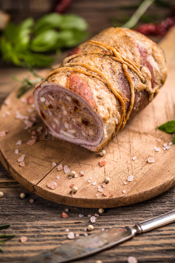 猪肉卷 库存图片