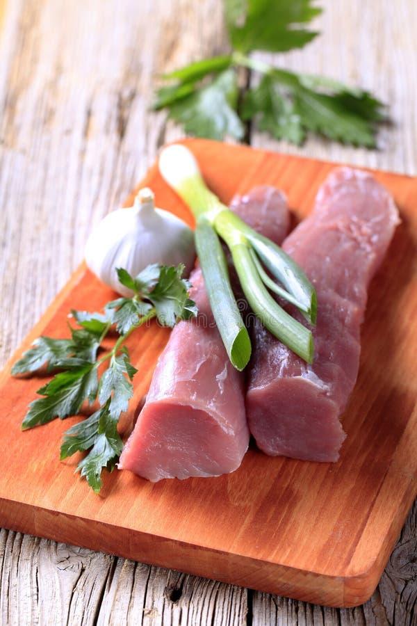 猪肉原始的里脊肉 库存照片