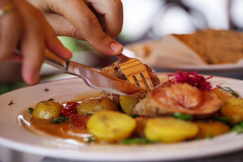 猪肉用被烘烤的土豆和菜 库存照片