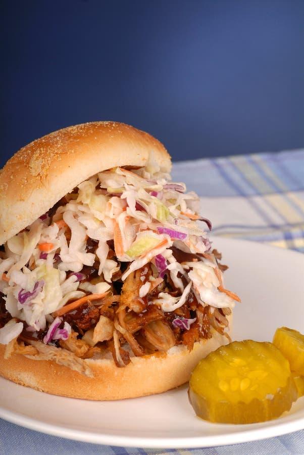 猪肉被拉的三明治 免版税图库摄影