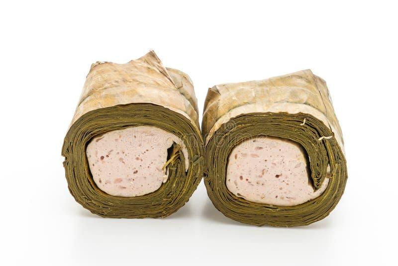 猪肉香肠越南或越南蒸的猪肉 库存照片