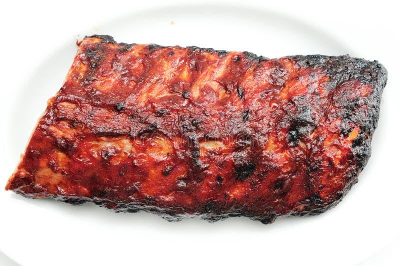 猪肉bbq肋骨 免版税库存照片