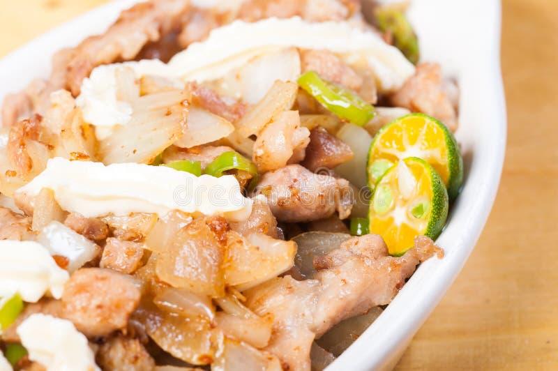 猪肉sisig一个普遍的纤巧在菲律宾 库存照片