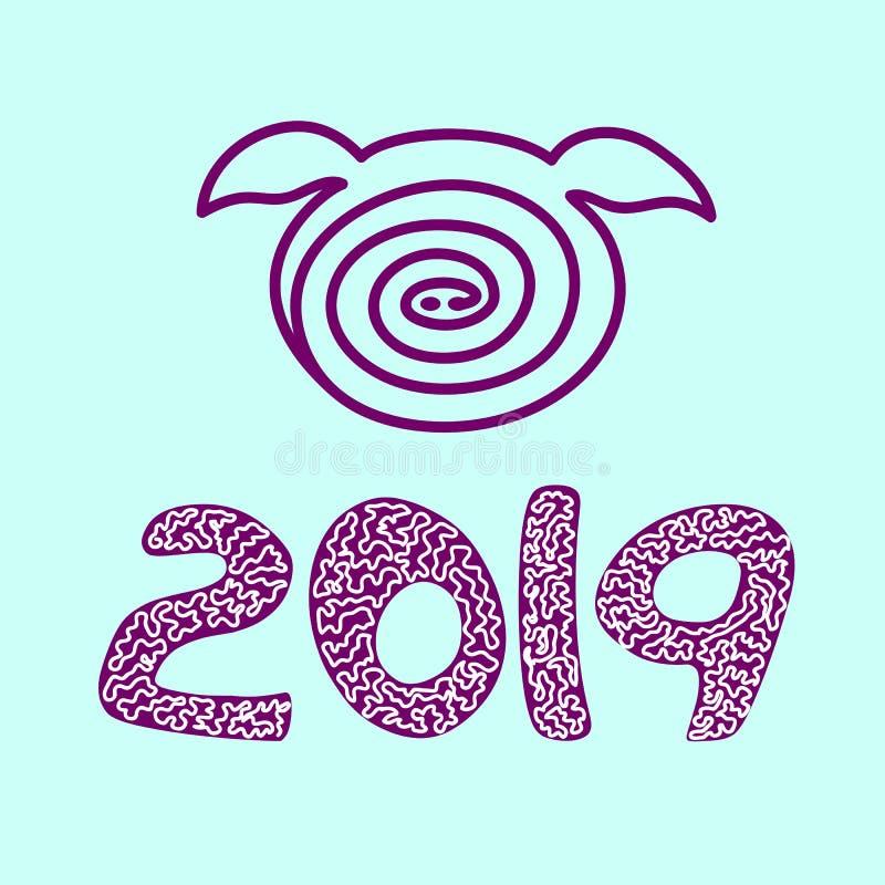 猪象传染媒介 2019年,新年快乐 蓝色backgraund, 皇族释放例证