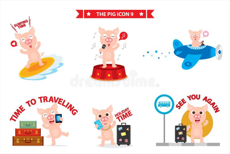 猪象字符 皇族释放例证