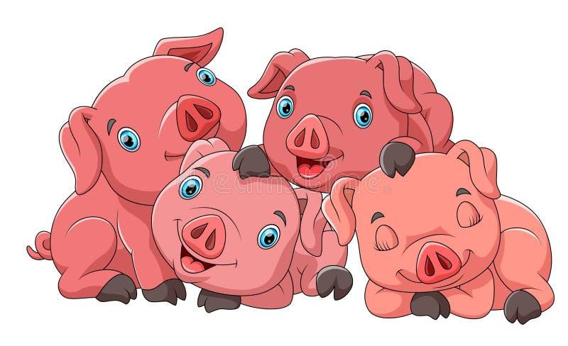 猪逗人喜爱的动画片家庭  皇族释放例证