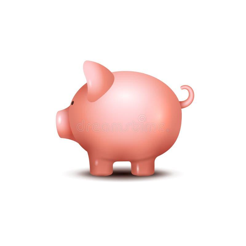 猪钱箱 贪心金钱救球银行象 保存箱子概念的硬币的猪玩具 财富储蓄 皇族释放例证
