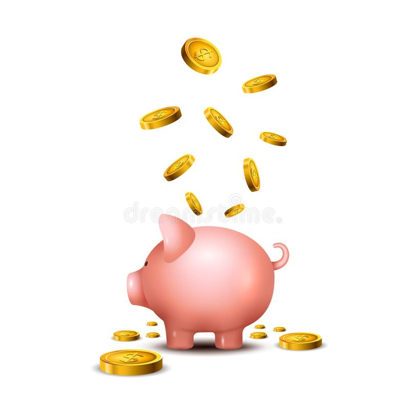 猪钱箱 贪心金钱救球银行象 保存箱子概念的硬币的猪玩具 财富储蓄 库存例证