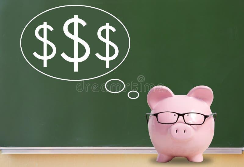 猪银行和美元 免版税图库摄影