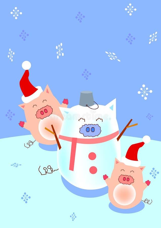 猪雪人 库存照片