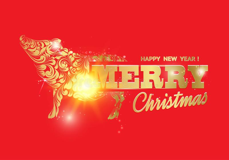 猪- 2019年的一个新年标志 在红色背景的圣诞快乐卡片用金黄小猪 快活文本的标志 皇族释放例证