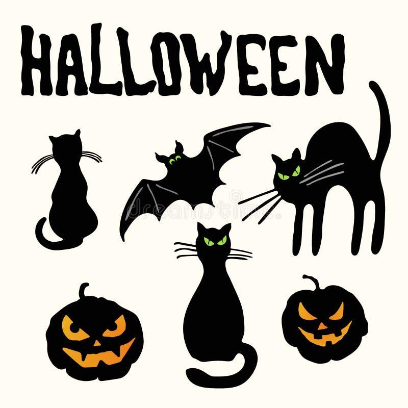 猫、南瓜灯笼、棒和万圣夜标题 皇族释放例证