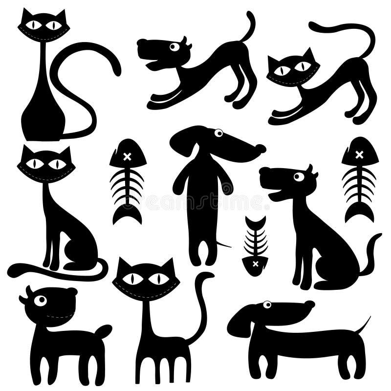猫、狗和鱼 皇族释放例证