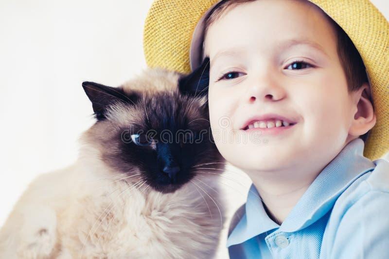 猫一起儿童巴厘语使用 朋友人 免版税库存照片