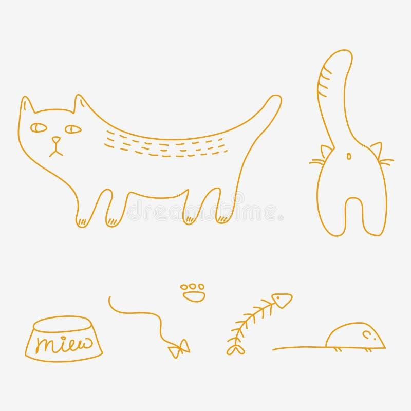 猫乱画 库存例证
