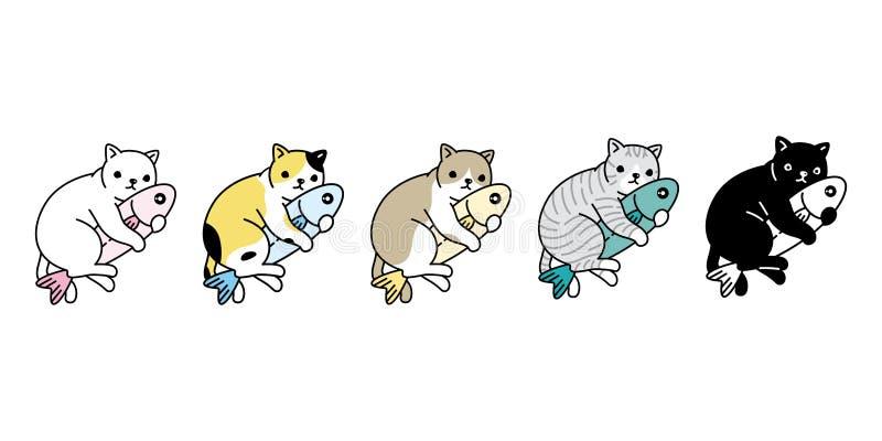 猫传染媒介小猫白棉布象拥抱鱼三文鱼金枪鱼标志商标卡通人物乱画例证设计 皇族释放例证