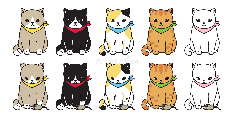 猫传染媒介小猫白棉布黑象商标字符动画片老鼠鼠姜例证乱画标志图表 库存例证