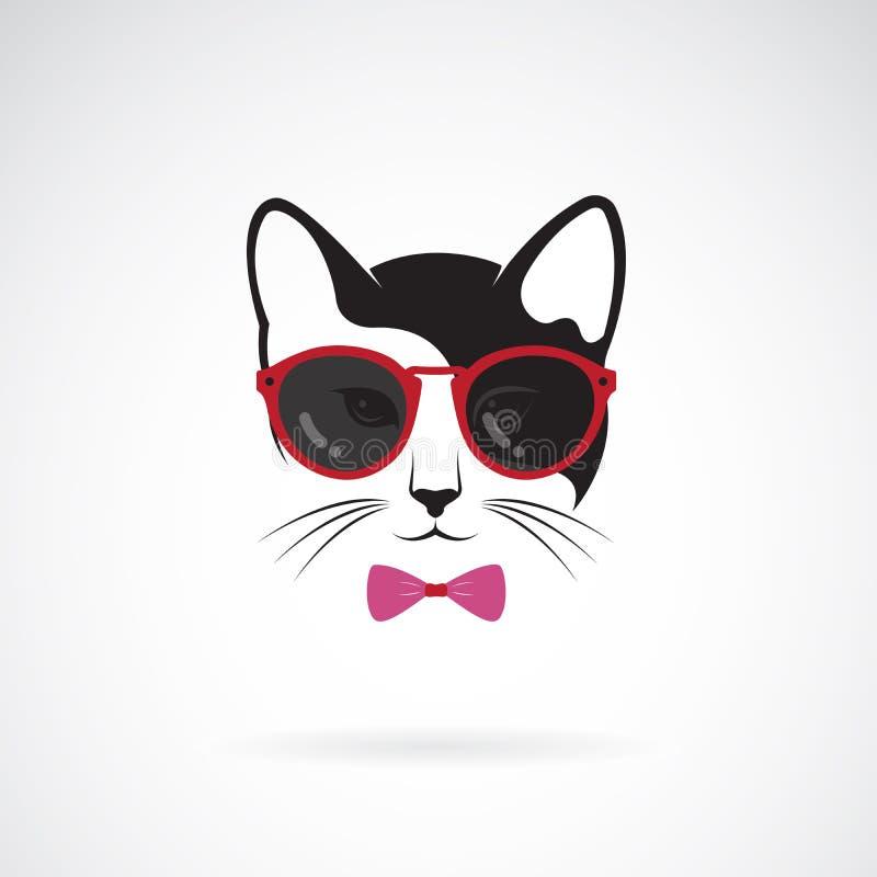 猫传染媒介戴在白色背景的太阳镜 ?? 猫时尚 宠物商标或象 容易的编辑可能的层状传染媒介 皇族释放例证