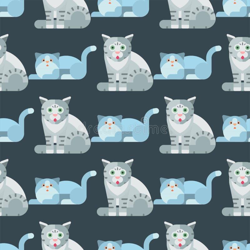 猫传染媒介例证逗人喜爱的动物无缝的样式滑稽的装饰全部赌注字符似猫的家养的时髦宠物 皇族释放例证