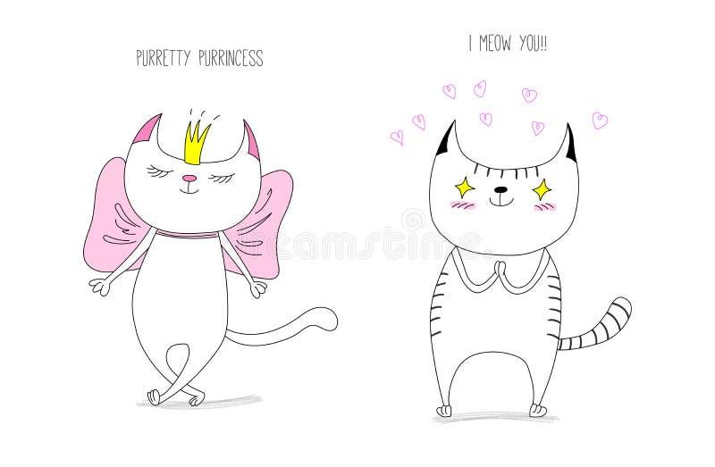 猫例证爱向量 库存例证