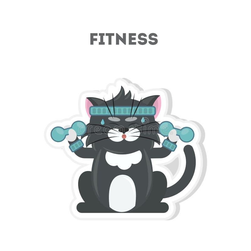 猫做健身 向量例证