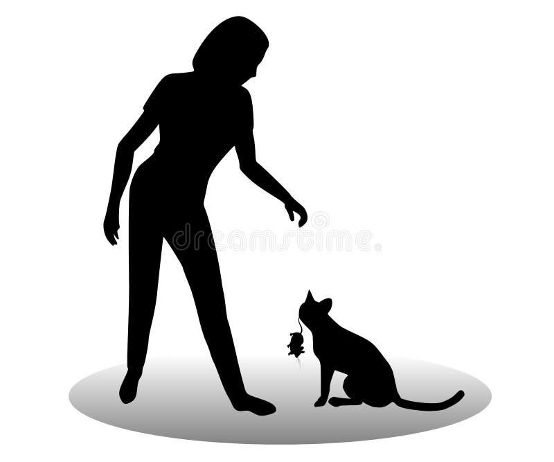 猫停止的礼品鼠标 向量例证