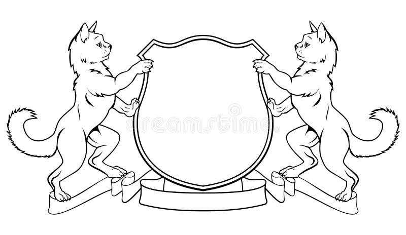 猫冠徽章纹章学盾 皇族释放例证