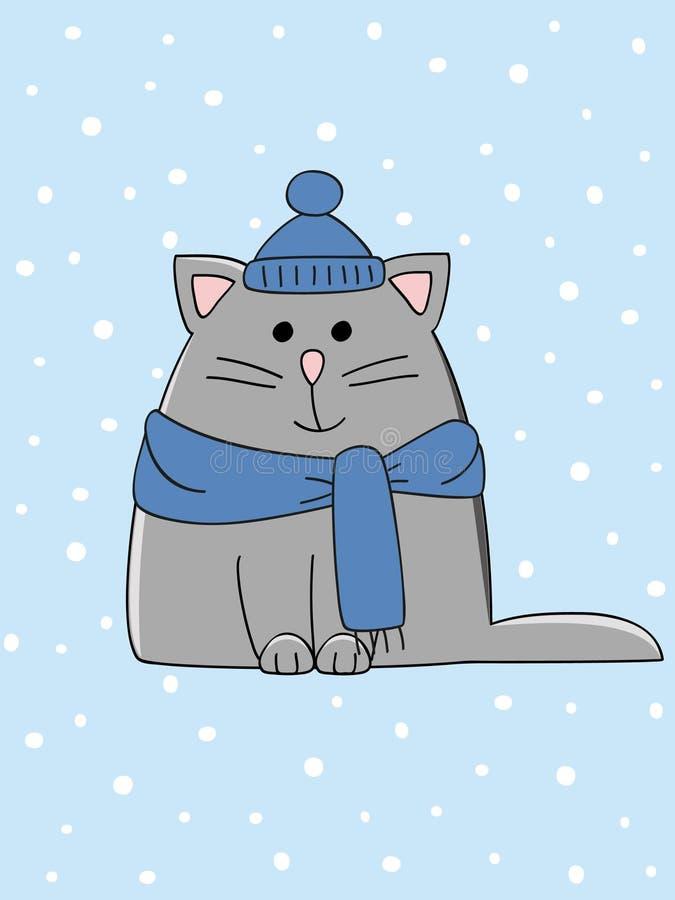 猫冬天 库存例证