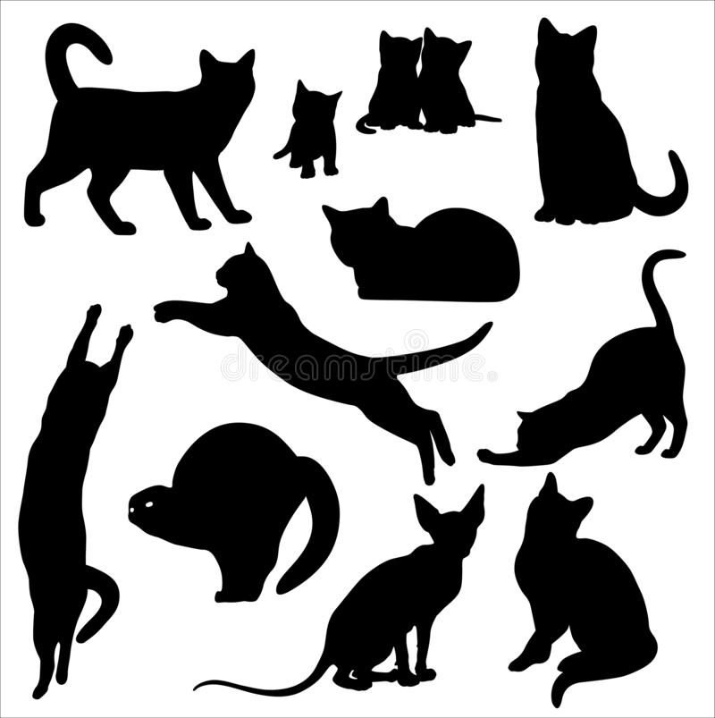 猫剪影在白色背景隔绝的传染媒介集合 皇族释放例证