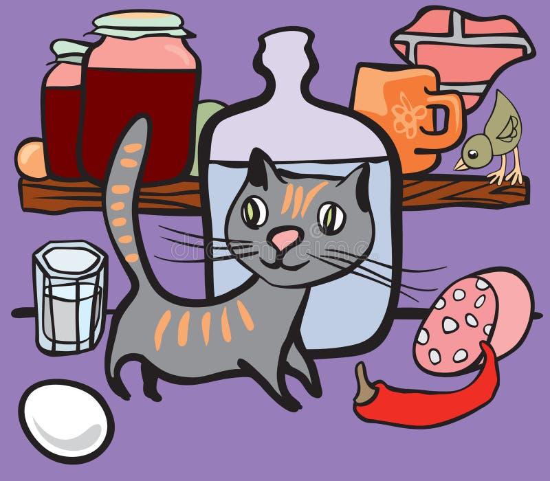 猫副食品餐具室 向量例证