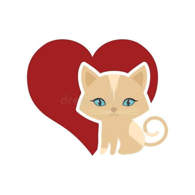 猫动物国内毛茸的红色心脏 向量例证