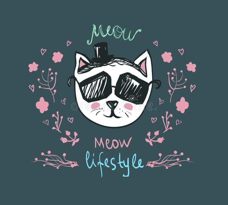 猫叫声生活方式-乱画全部赌注 在太阳镜的逗人喜爱的时尚猫-导航明信片 滑稽的宠物字符 时髦行家skeych 向量例证