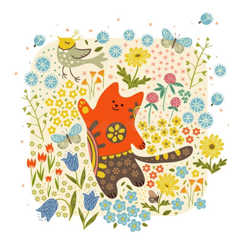猫和一只鸟反对花背景 免版税库存照片