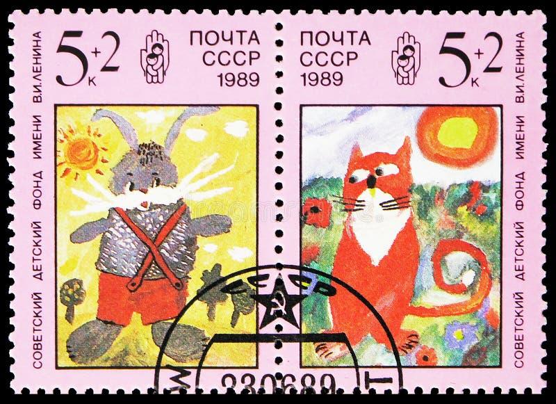 猫和兔子,列宁儿童的资金serie,大约1989年 库存图片