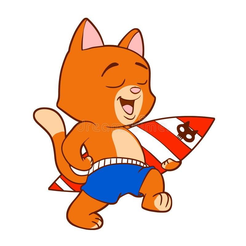 猫和冲浪板动画片 皇族释放例证
