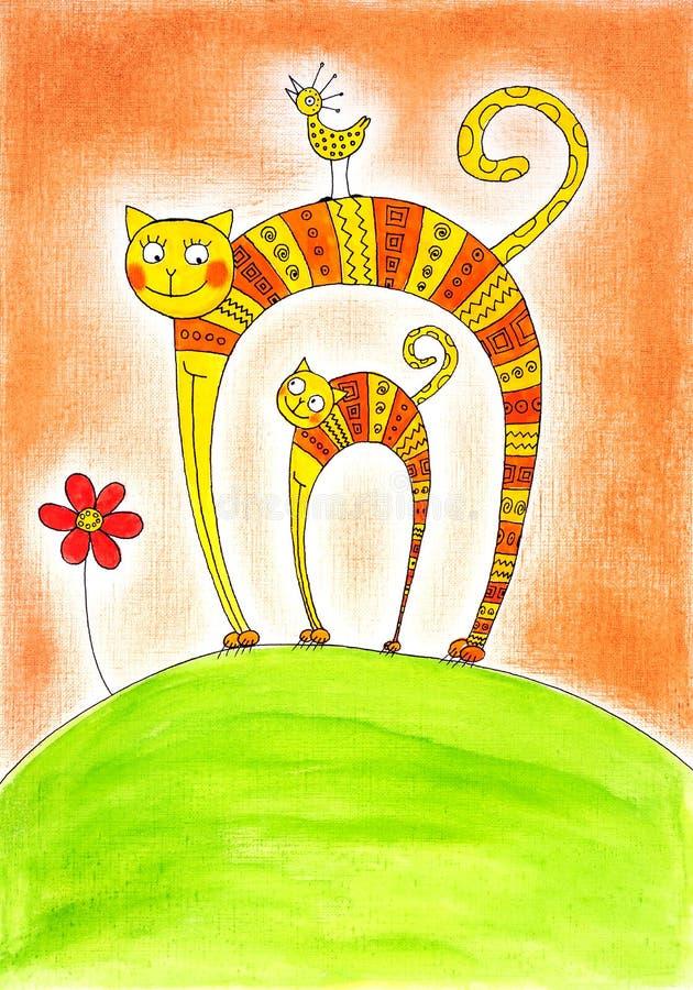 猫和小猫,儿童的图画,水彩绘画 皇族释放例证
