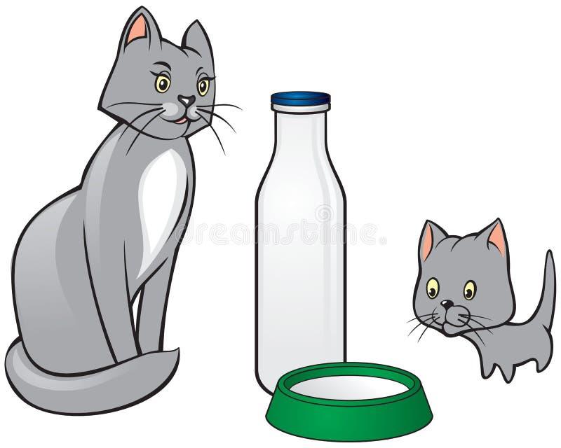 猫和小猫 向量例证