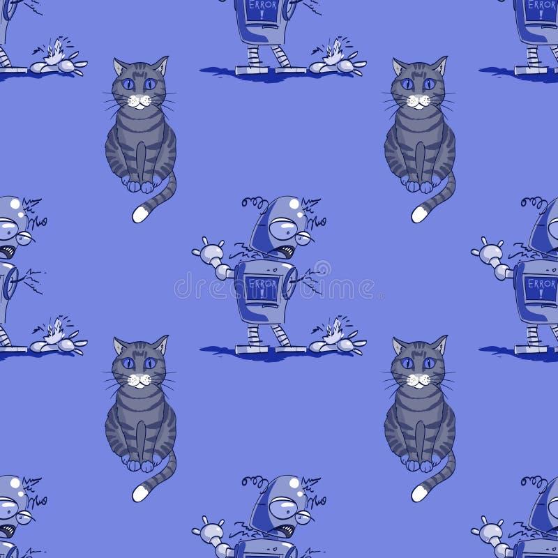 猫和残破的机器人无缝的样式 皇族释放例证