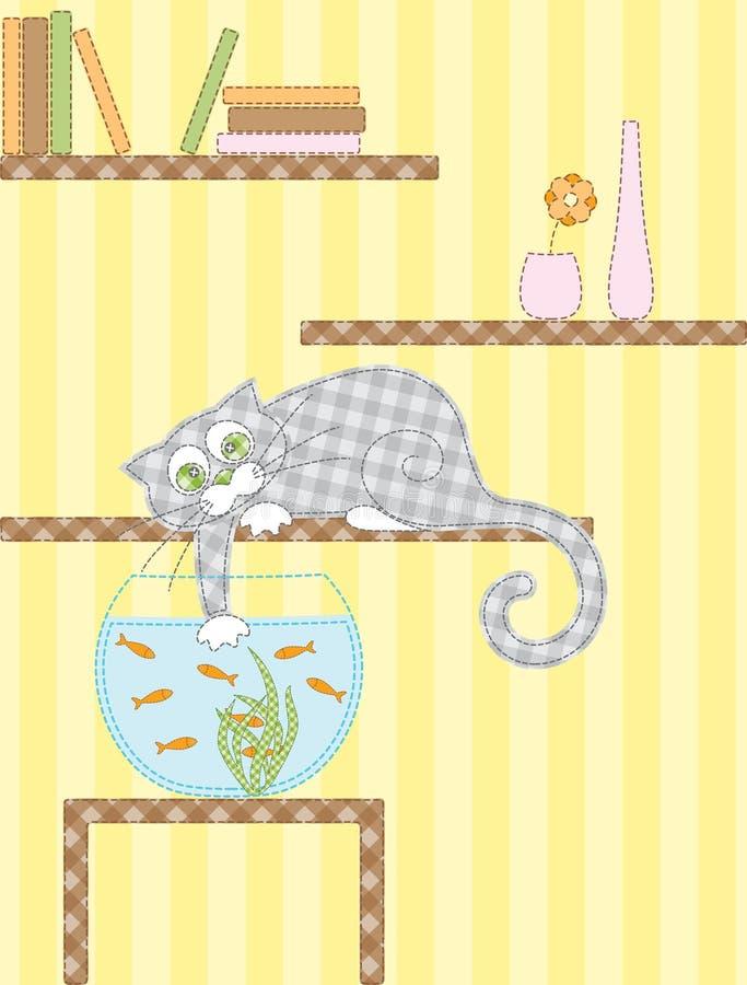 猫和水族馆 免版税库存照片