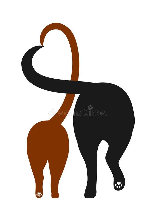 猫和狗剪影,做与他们的尾巴的心脏 免版税库存图片