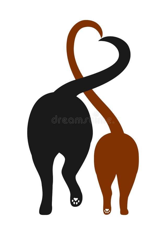 猫和狗剪影,做与他们的尾巴的心脏 库存照片