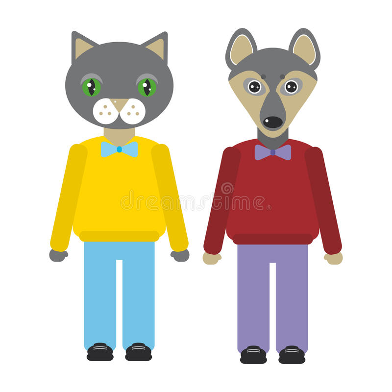 猫和狗动物在时髦平的样式设置了 动物园infographics设计 向量 向量例证