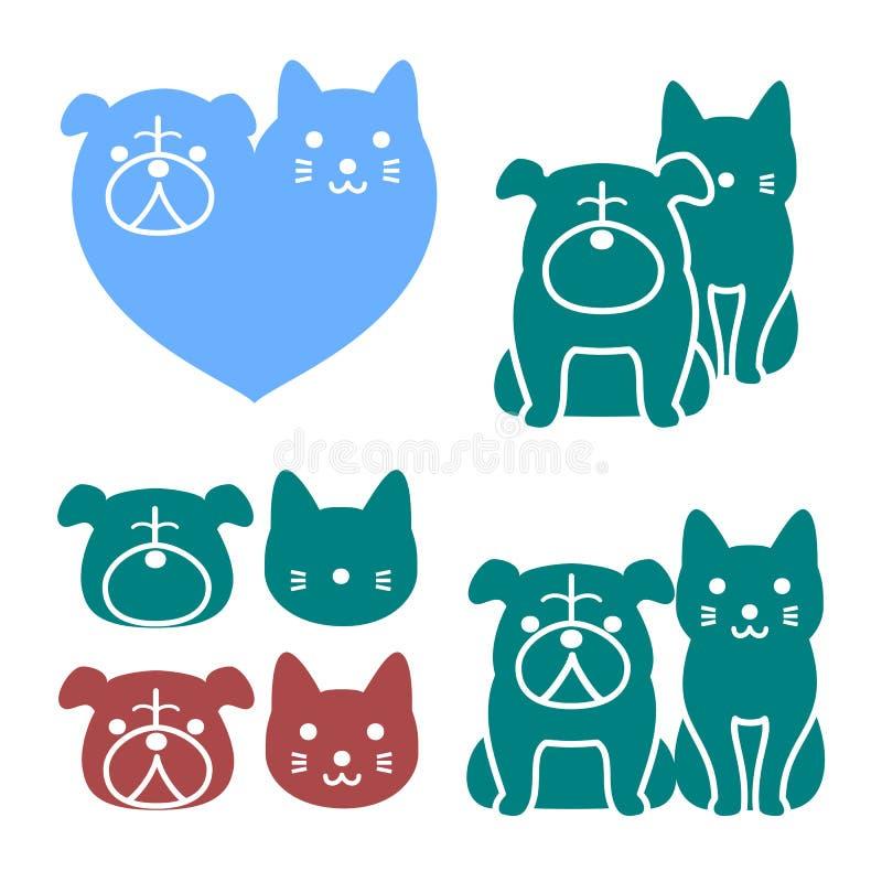 猫和狗商标 免版税库存图片