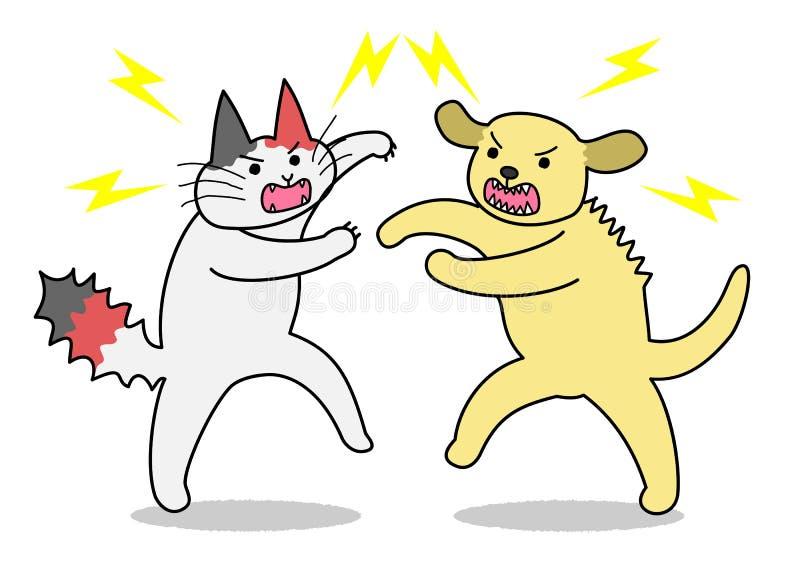 猫和狗战斗 库存例证