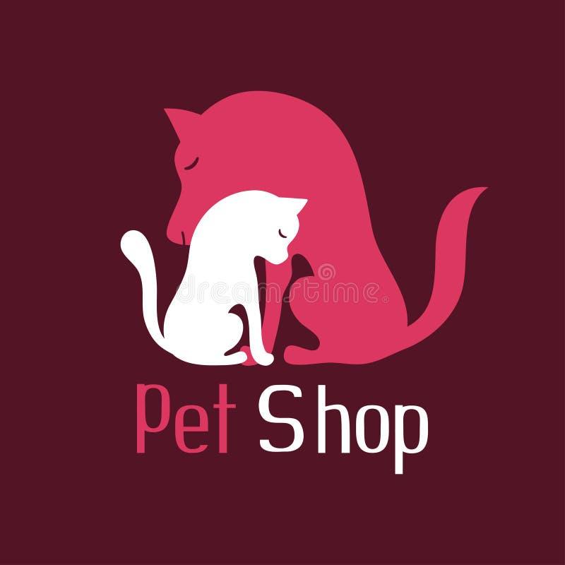 猫和狗招标容忍,宠物店商标的标志 库存例证