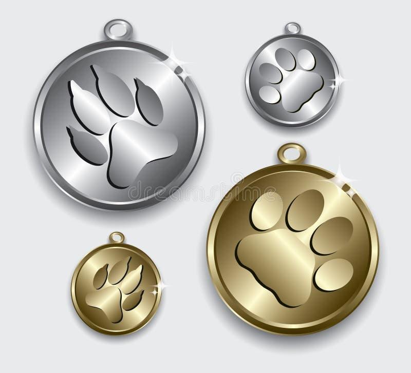 猫和狗的衣领大奖章 库存例证